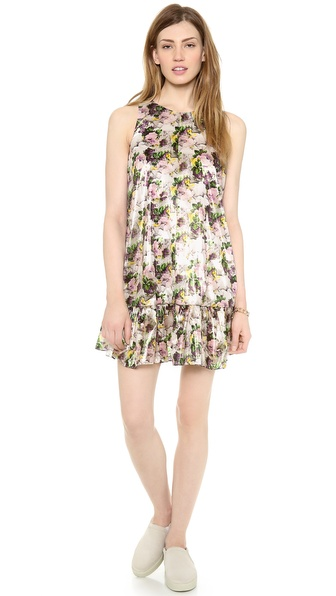 MSGM Dropwaist Rose Print Dress