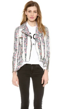 MSGM Stripe Flower Biker Jacket