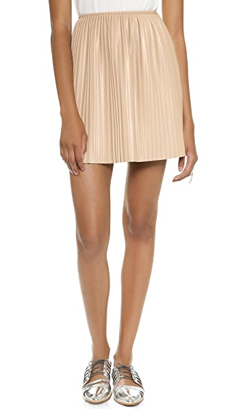 Msgm Pleated Faux Leather Skirt - Blush