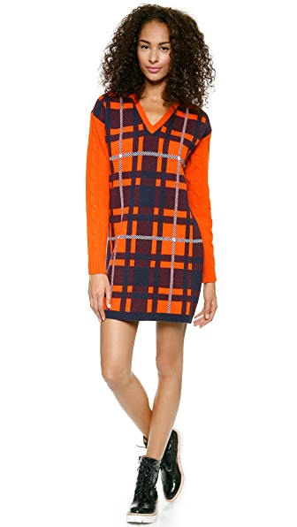 MSGM Cable Sleeve Plaid Dress