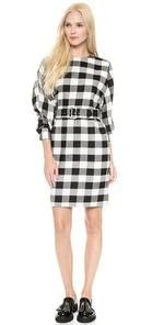 msgm plaid dress with belt