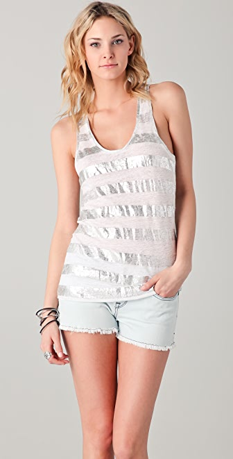 Majestic Metallic Stripe Scoop Neck Tank