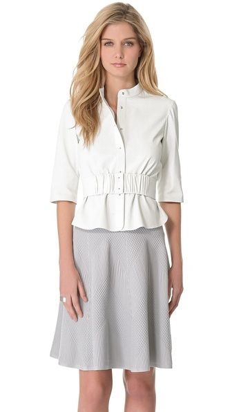 MAISON ULLENS Perforated Leather Blouse