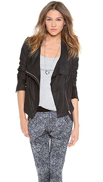 Muubaa Yogi Draped Leather Jacket