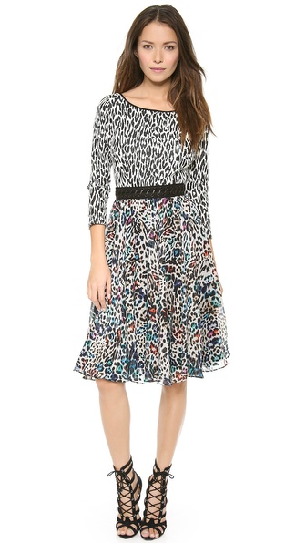 Marchesa Voyage Lace Up Leopard Dress