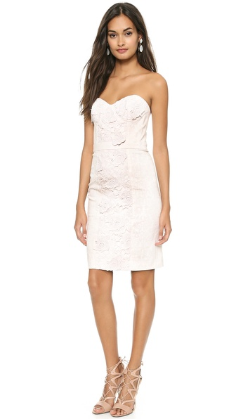 Marchesa Voyage Lace Flower Denim Dress - Dusty Pink