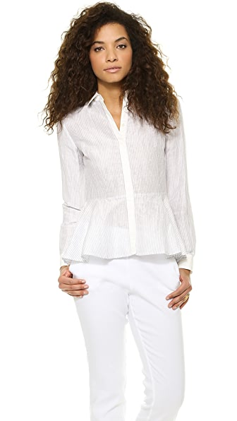 Marchesa Voyage Peplum Button Down