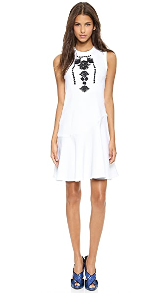 Marchesa Voyage Embroidered Sleeveless Dress