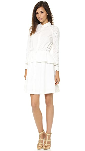 Marchesa Voyage Poplin Peplum Dress