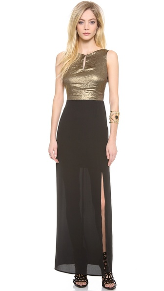 Myne Violetta Maxi Dress with High Slit and Low Back