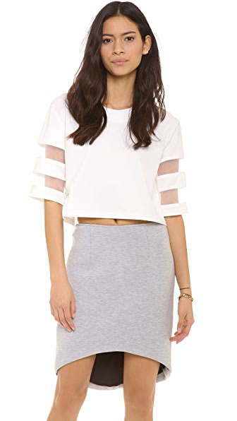re:named Contrast Stripe Crop Top