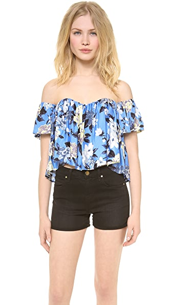 re:named Floral off the Shoulder Crop Top