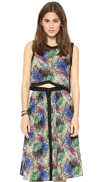 Re:Named Palm Leaf Crop Top - Black Multi