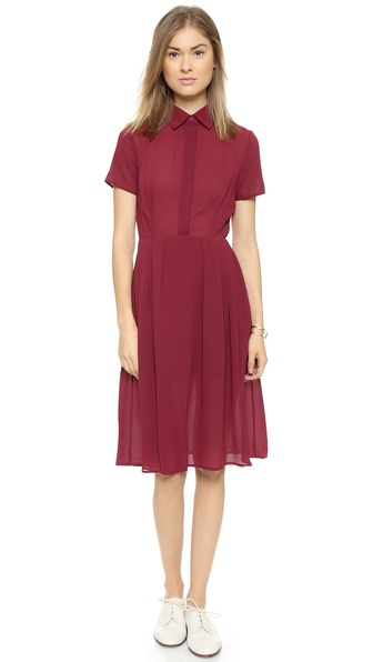 Shop re:named online and buy Re:Named Button Down Dress Oxblood online