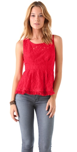 Nanette Lepore Bev Hills Lace Peplum Top