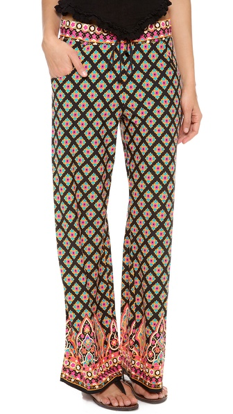 Shop Nanette Lepore online and buy Nanette Lepore Moroccan Medallion Beach Pants Black - Nanette Lepore beach pants in a bright floral print. Hip pockets. A drawstring cinches the comfortable elastic waistband. Unlined. 90% nylon/10% elastane. Hand wash. Made in Mexico. MEASUREMENTS Rise: 10in / 26cm Inseam: 30in / 76cm Leg opening: 23in / 58cm. Available sizes: S
