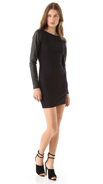 Nicholas Felicity Leather Sleeve Dress