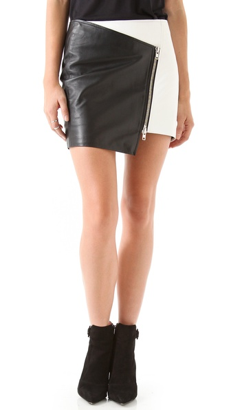 Nicholas Leather Zip Skirt