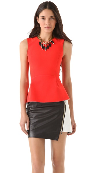 Nicholas Bonded Silk Peplum Top