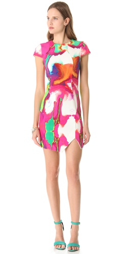 Nicholas Printed Cap Sleeve Dress