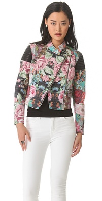 Nicholas Tapestry Print Denim Moto Jacket