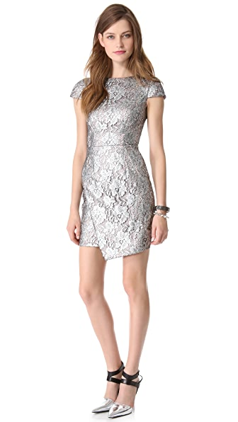 Nicholas Metallic Lace Wrap Dress