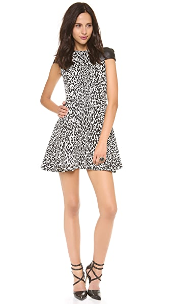 Nicholas Leopard Dress with Leather Sleeves