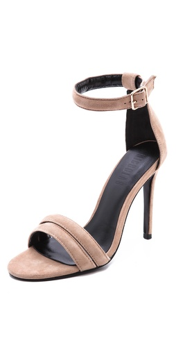 Kupi Nicholas cipele online i raspordaja za kupiti Double straps lend light-as-air appeal to these suede sandals. Buckled ankle strap. Covered stiletto heel and leather sole.  Leather: Kidskin. Imported, China. This item cannot be gift-boxed.  MEASUREMENTS Heel: 4in / 100mm - Seashell