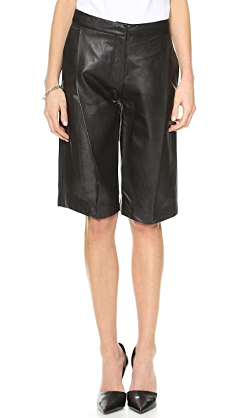 Nicholas Tailored Knee Length Leather Shorts