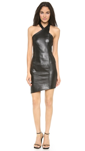Nicholas Leather Wrap Neck Dress