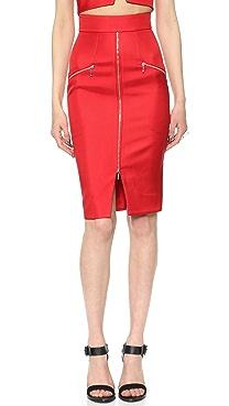 Nicholas Bonded Silk Zip Pencil Skirt