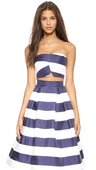 Nicholas Navy Stripe Silk Bonded Crop Top