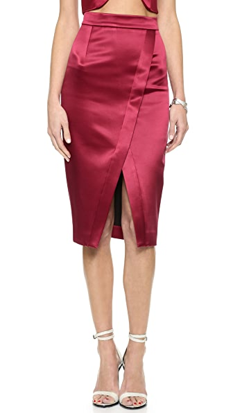 Nicholas Nicholas Bonded Silk Crossover Skirt (Red)
