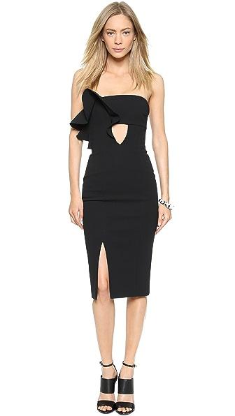 Kupi Nicholas haljinu online i raspordaja za kupiti Nicholas Bonded Crepe Ruffle Dress Black online