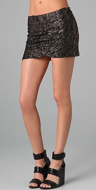 Nightcap Clothing Gold Lace Miniskirt