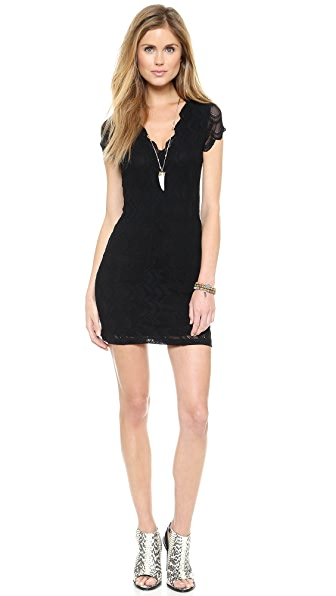 Nightcap Clothing Deep V Cap Sleeve Dress