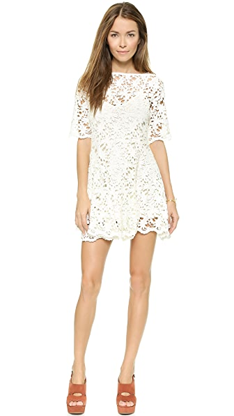 Nightcap Clothing Daisy Crochet Fit & Flare Dress