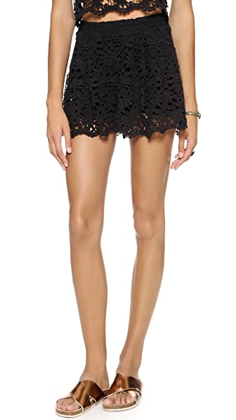 Nightcap Clothing Daisy Crochet Flare Shorts