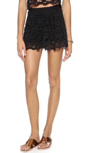 Nightcap Clothing Daisy Crochet Flare Shorts