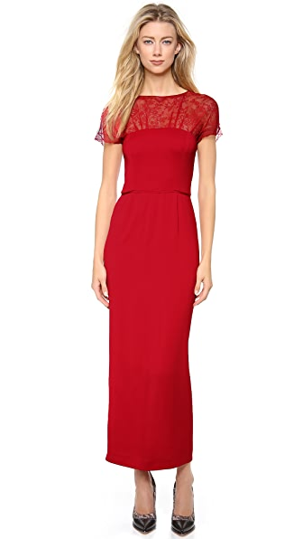 Nina Ricci Lace Cap Sleeve Dress