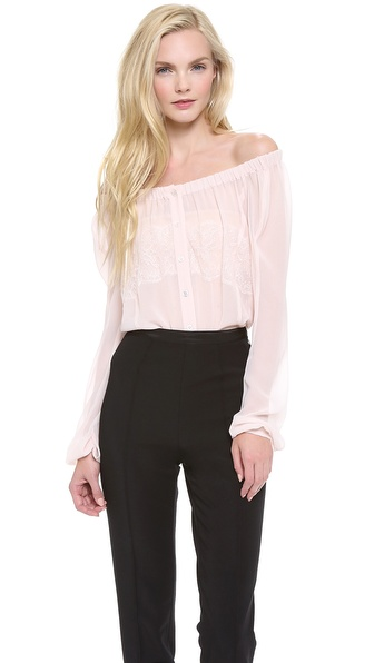 Nina Ricci Off Shoulder Lace Blouse