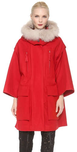 Nina Ricci Fur Trim Coat