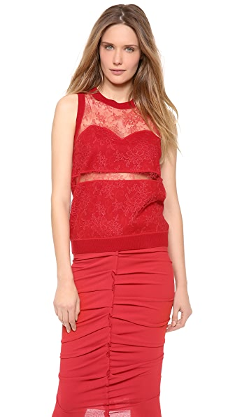 Nina Ricci Sleeveless Lace Top with Cutouts
