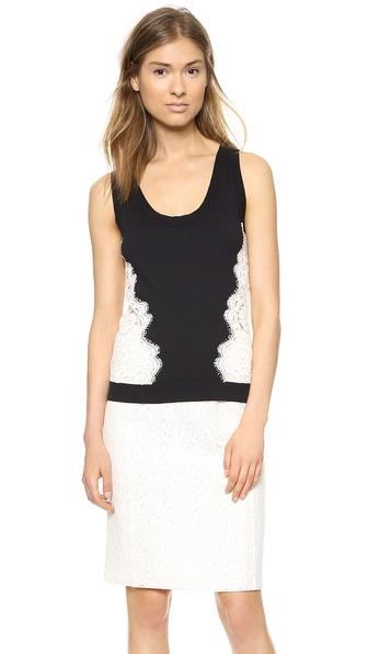 Nina Ricci Contrast Lace Inset Top