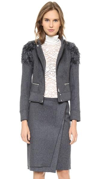 Nina Ricci Wool & Faux Fur Jacket