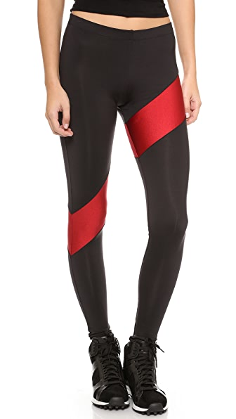 Norma Kamali Spliced Diagonal Leggings