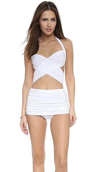 Shop Norma Kamali online and buy Norma Kamali Xo Bill Mio Swimsuit White swimwear online