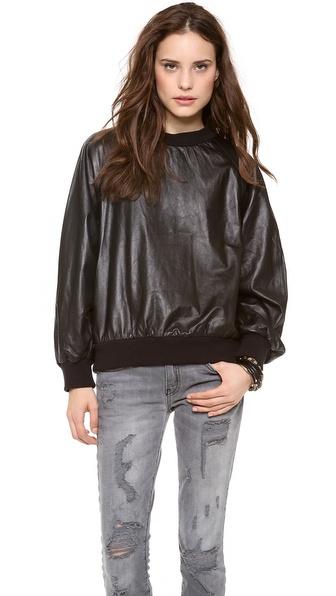 Nili Lotan Leather Sweatshirt