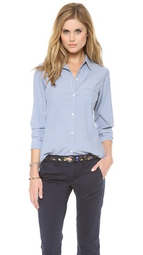 Nili Lotan Novelty Chambray Stripe Shirt
