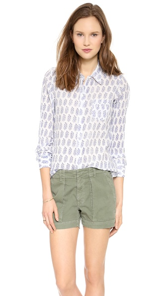Nili Lotan Floral Woodblock Shirt with Pocket